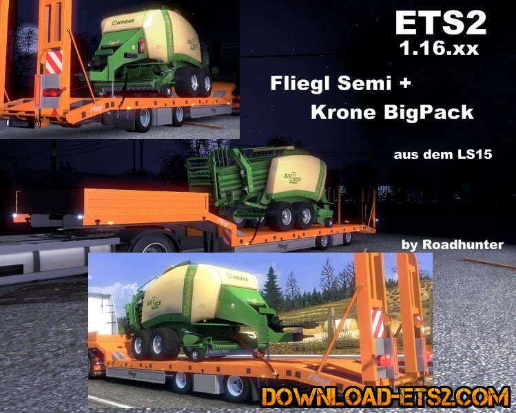 Fliegl Semi Trailer with Krone Big Pack by Roadhunter