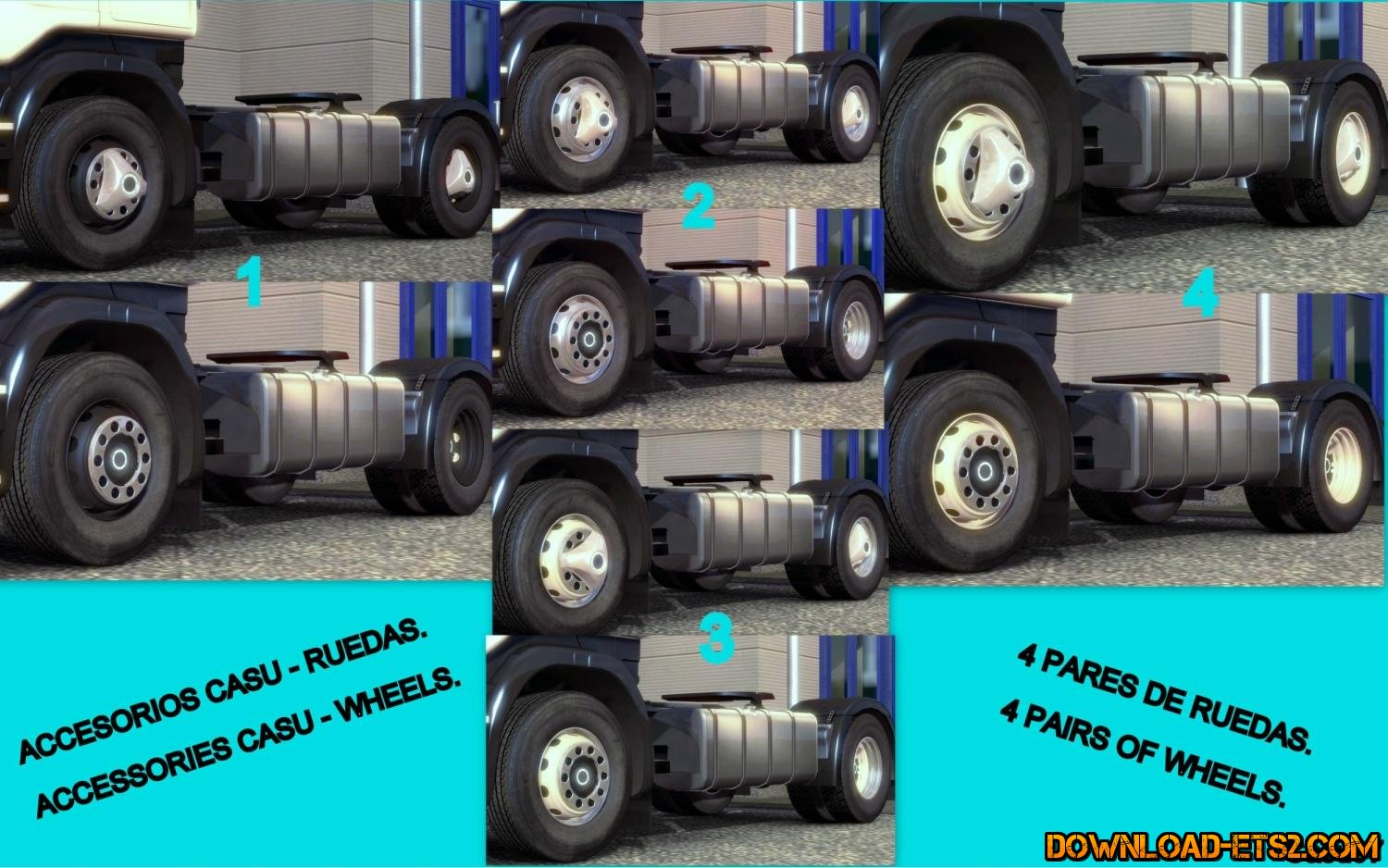 ACCESSORIES CASU – 4 PAIRS OF WHEELS FIXED for ETS2