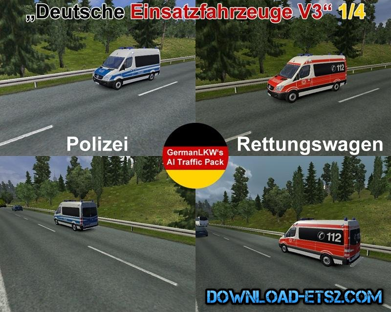 German Rescue Cars/Deutsche Einsatzfahrzeuge v3 for ETS2 by GermanLKW