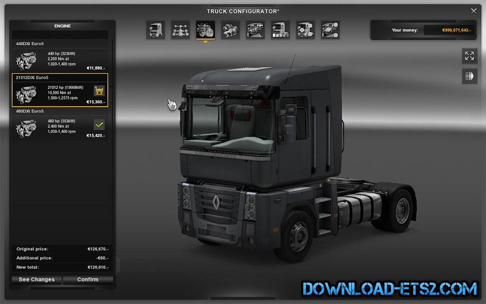 51012 HP ENGINE MOD FOR RENAULT MAGNUM TRUCK