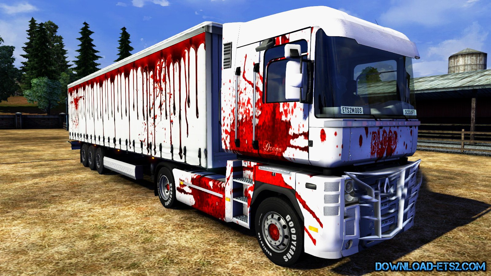 Renault Magnum Blood Skin + Trailer v1.0