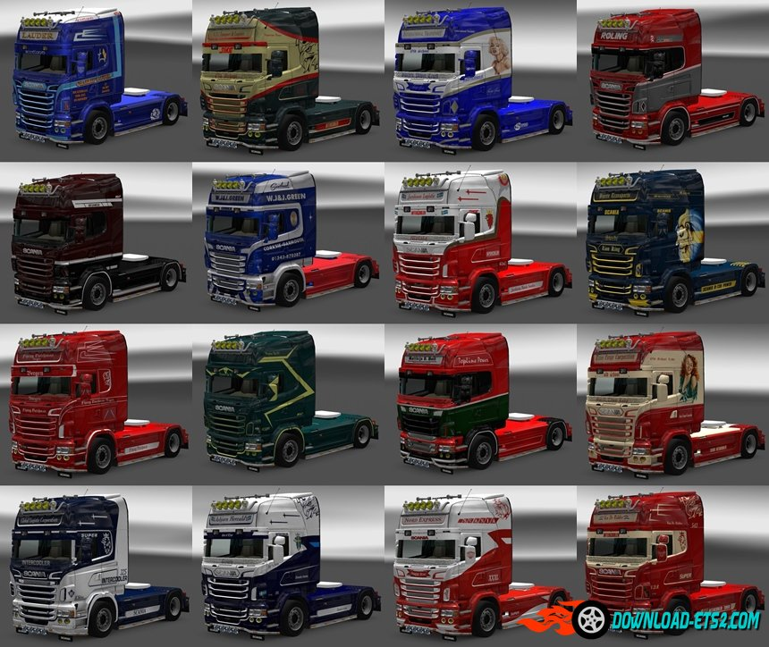 Pack Skins for Scania RJL (16 Skins)