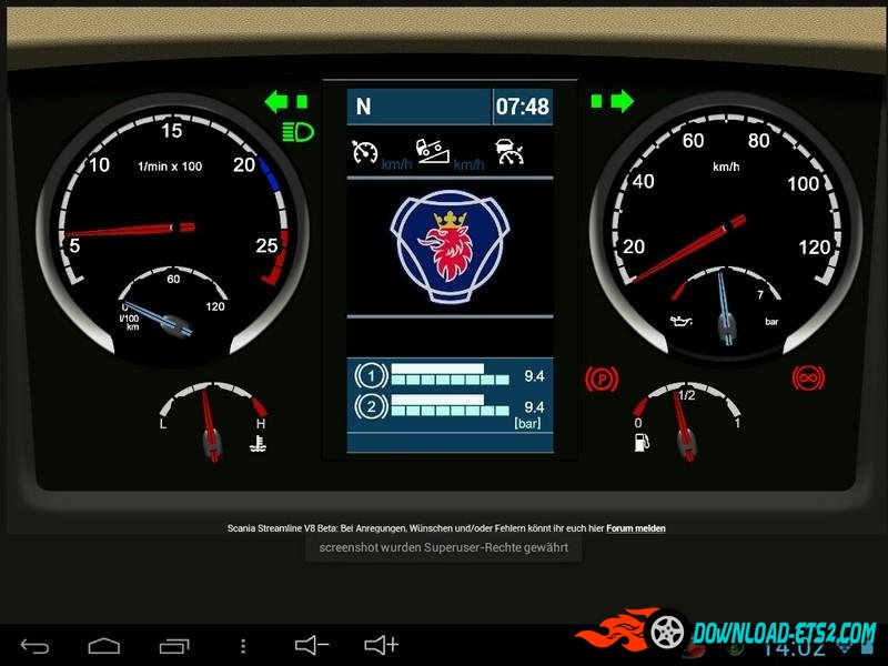 SCANIA STREAMLINE V8 DASHBOARD V0.2 BETA