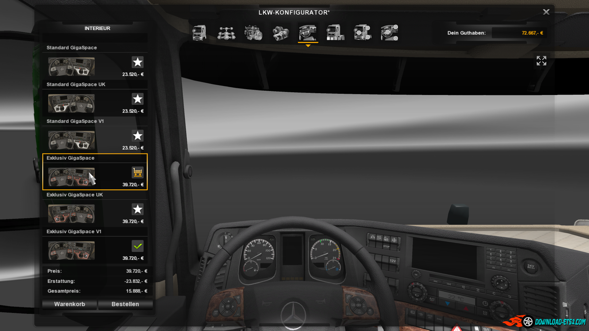 Realistic New Actros interior - 1.2(FIX)