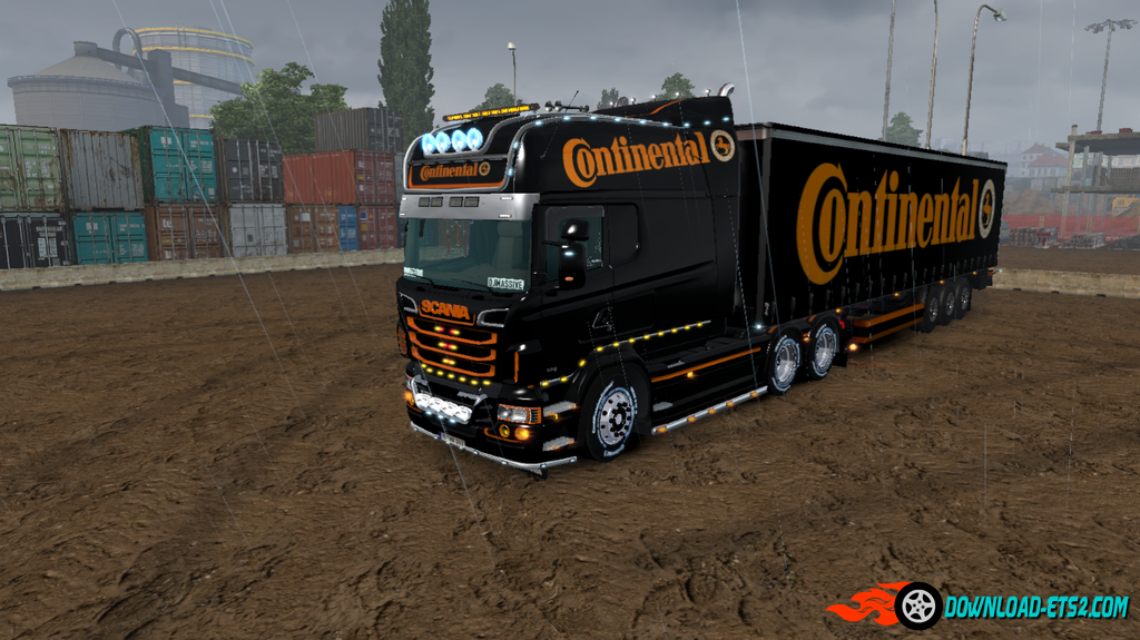 """Continental"" Skin for Scania RS EXC Longline (RJL) + trailer"