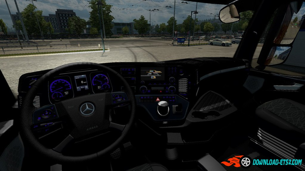 Black interior with blue backlight devices for Mercedes Actros 2014