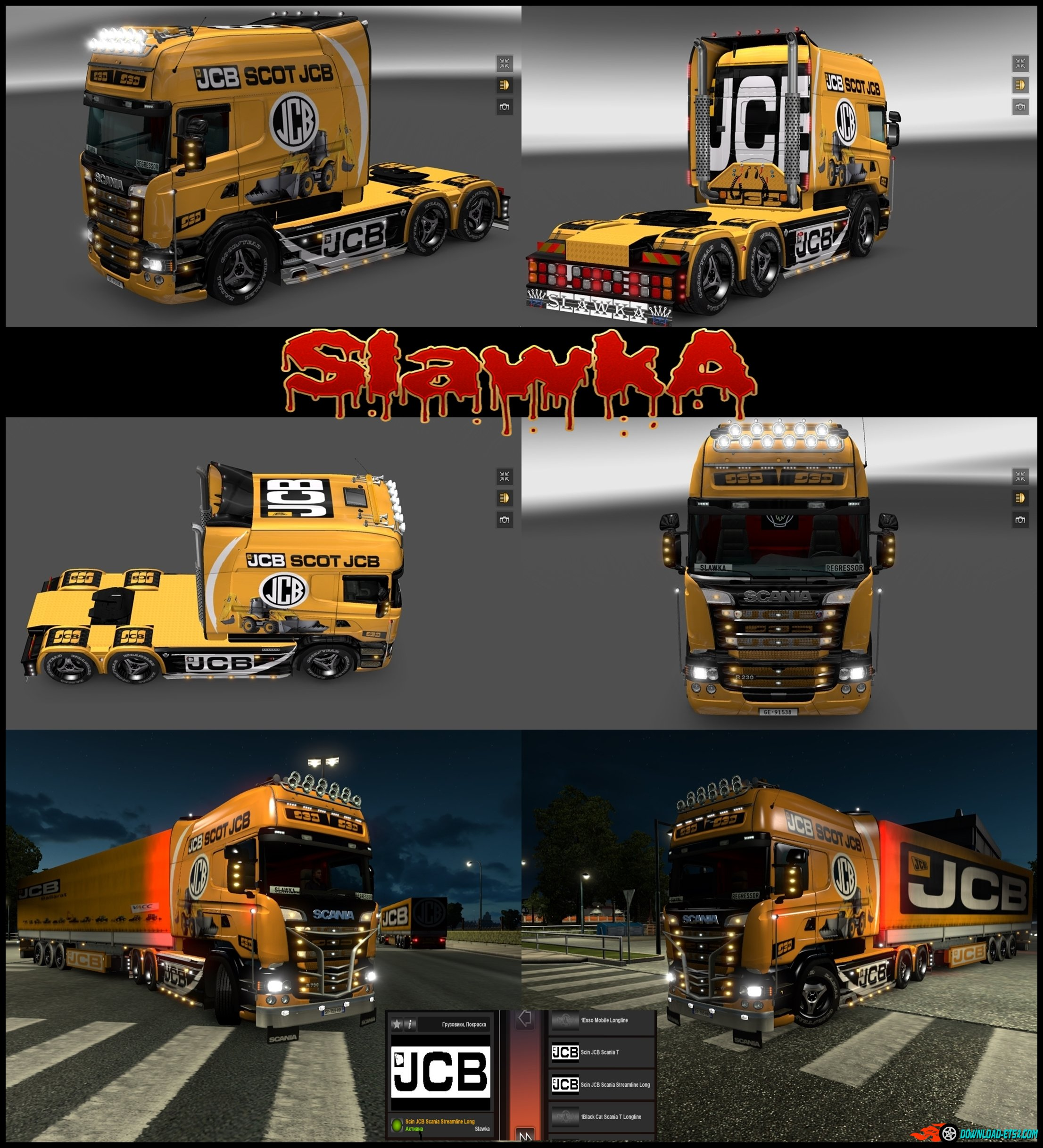 "Skin ""JCB"" for Scania Streamline Longline RJL"