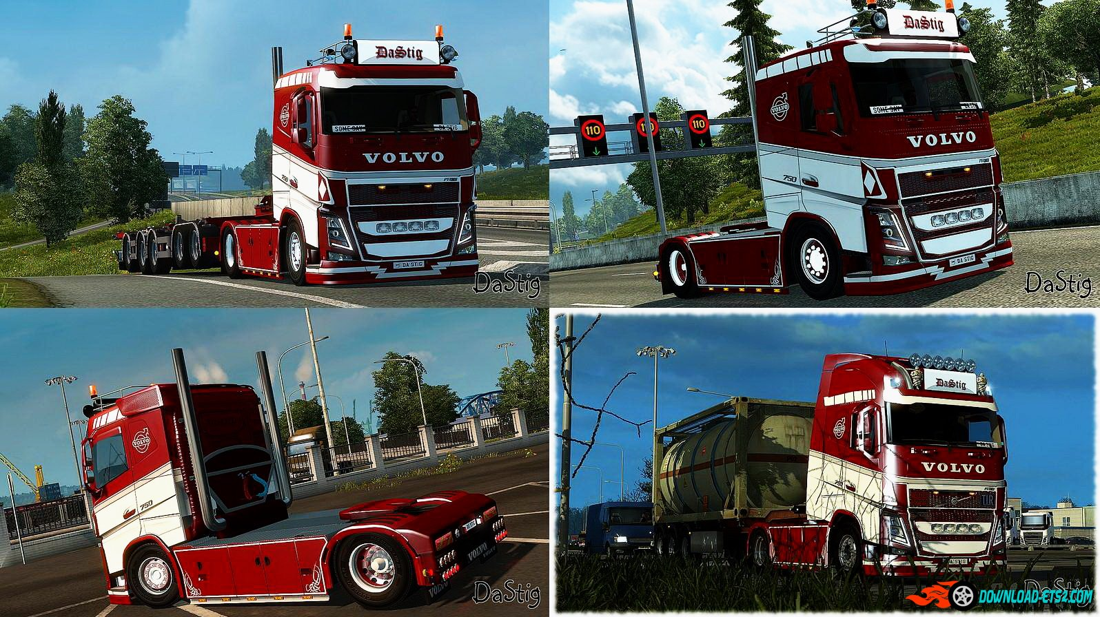 Red & White skin for Volvo FH16 2013 (Ohaha) v1.0 by DaStig