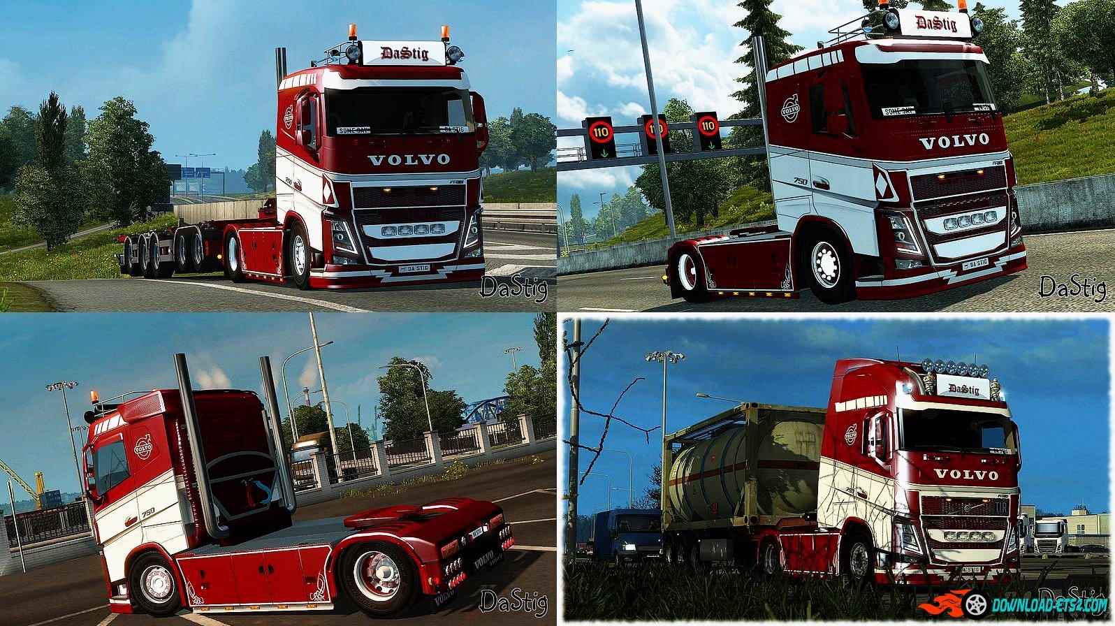 Red & White skin for Volvo FH16 2013 (Ohaha) v1.0 by DaStig