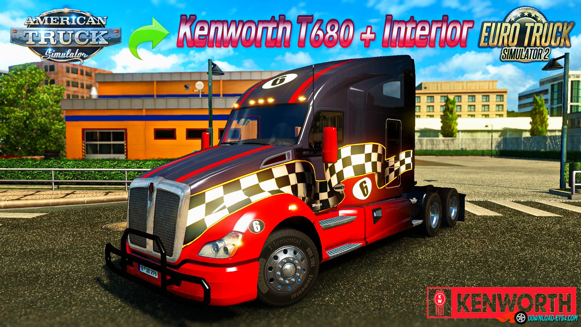 Kenworth T680 + Interior v1.0 from ATS (v1.23.x)