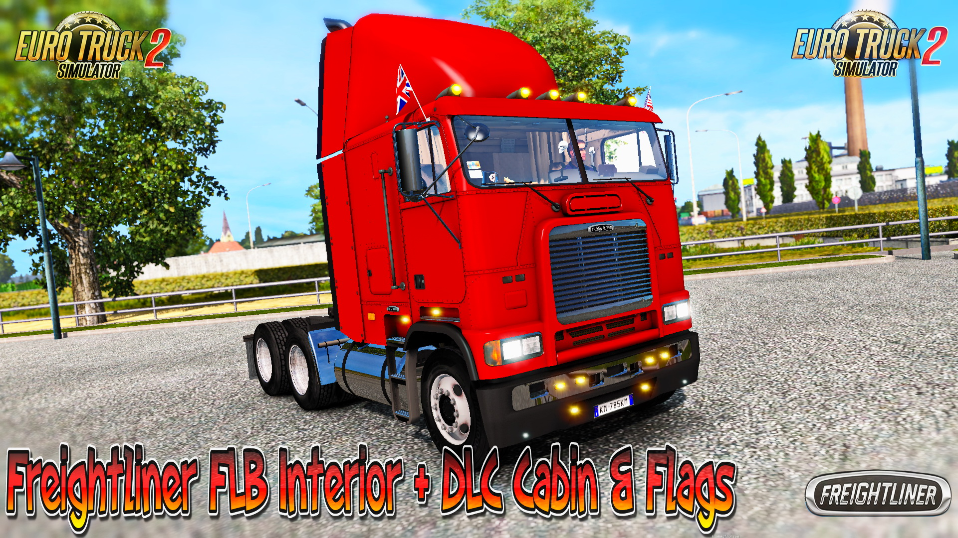 Freightliner FLB Interior + DLC Cabin & Flags v2.0 for ETS 2 (Euro Truck Simulator 2)