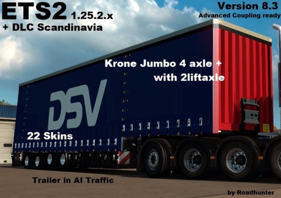 Krone Jumbo Curtainside 4 Axle Version 8.3 for Ets2