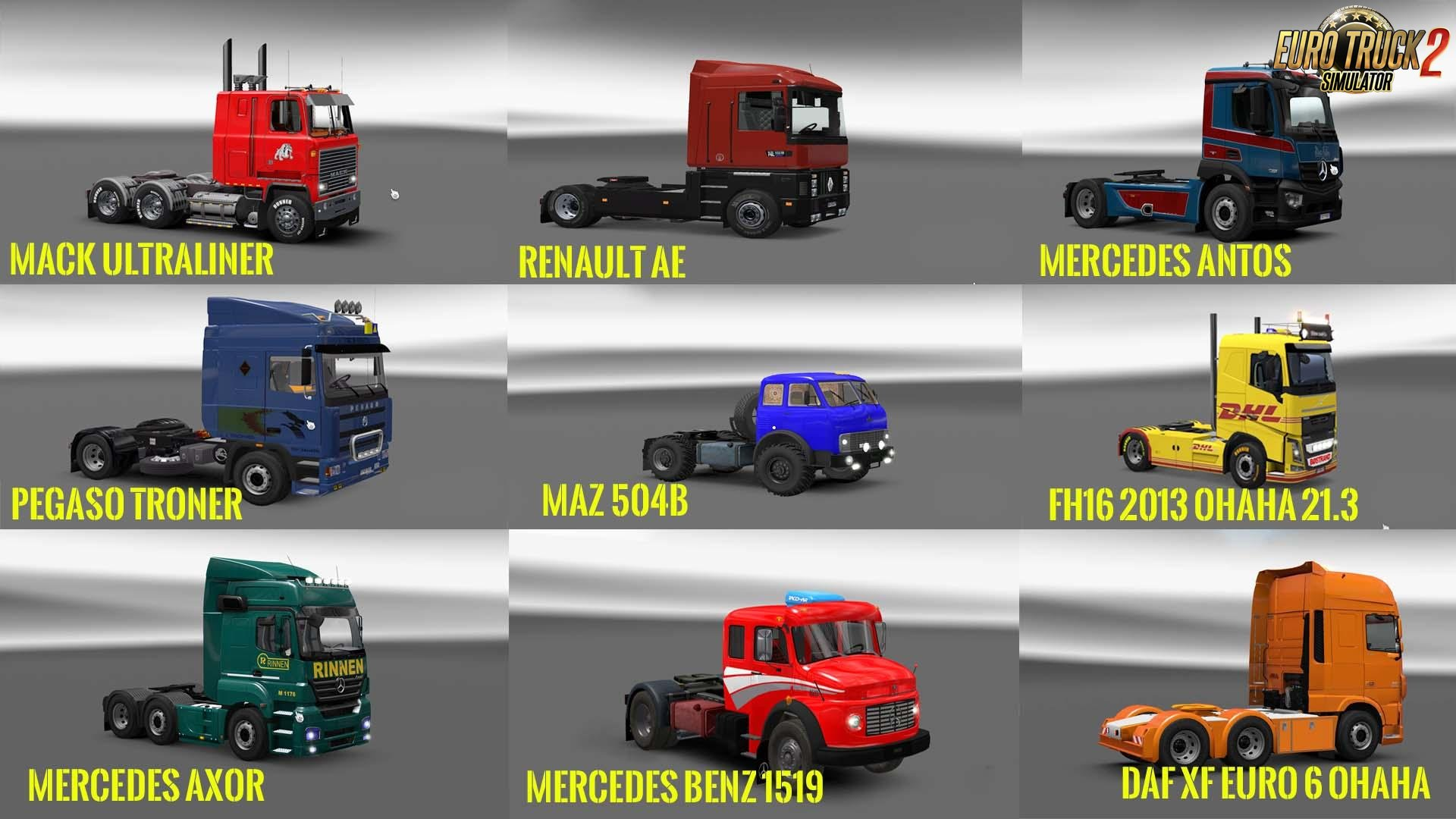 Pack 4 Compt. Trucks of Powerful Engines Pack + Transmissions v7.0 for Ets2