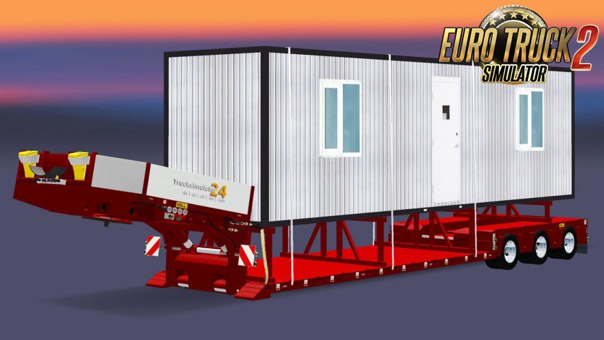 Trailer Low sweep with a cargo cabins for Ets2