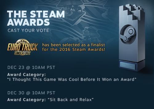 Euro Truck Simulator 2 is a Steam Awards Finalist!