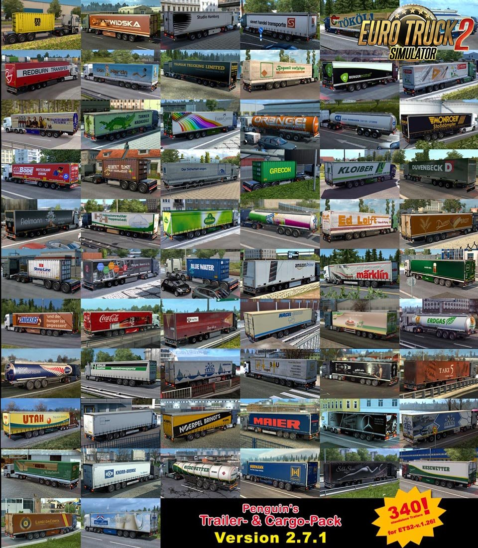 Penguins Trailer and CargoPack v2.7.1 for Ets2