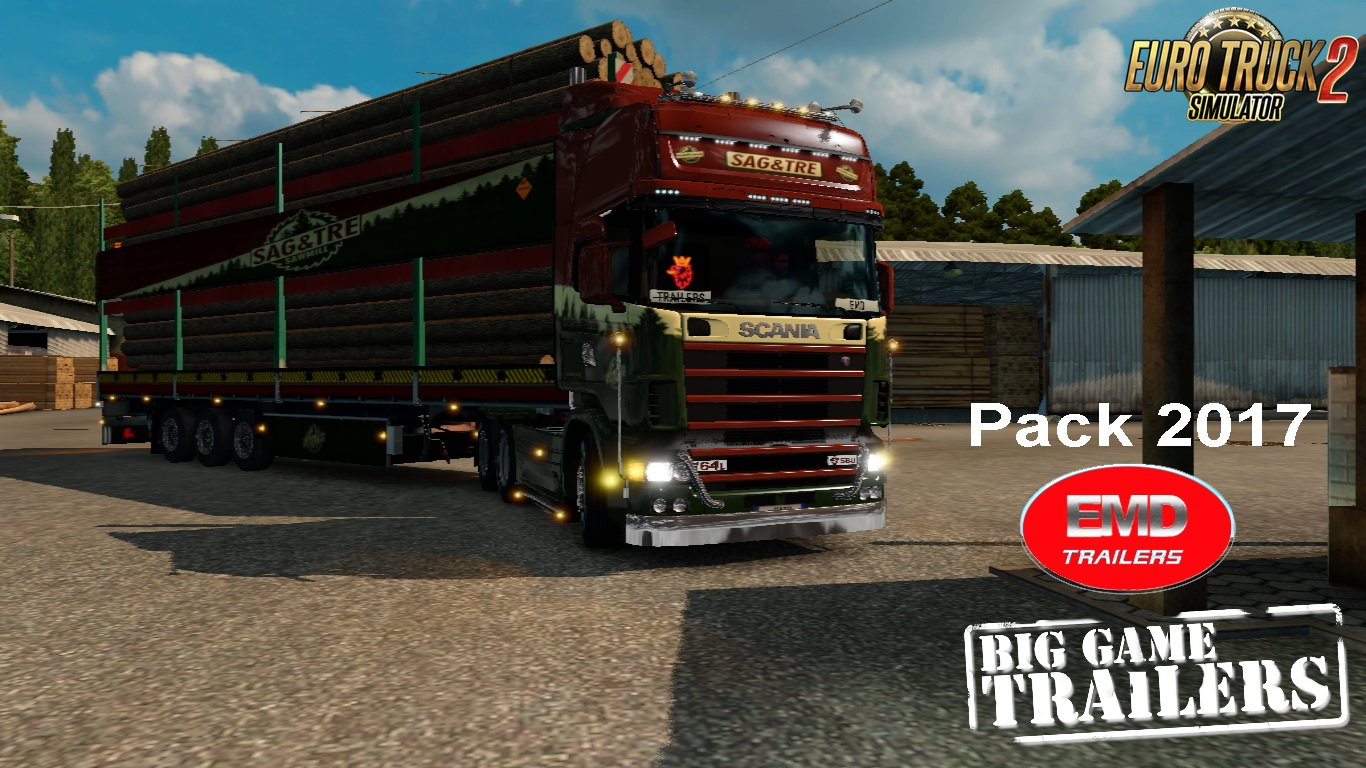 Big Trailer Sag & Tre EMD Modding Pack Trailers 2017 v1.0 (1.26.x)