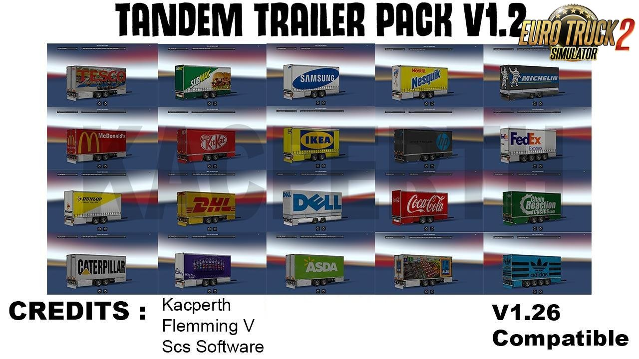 Tandem Trailer Pack v1.2 for Ets2
