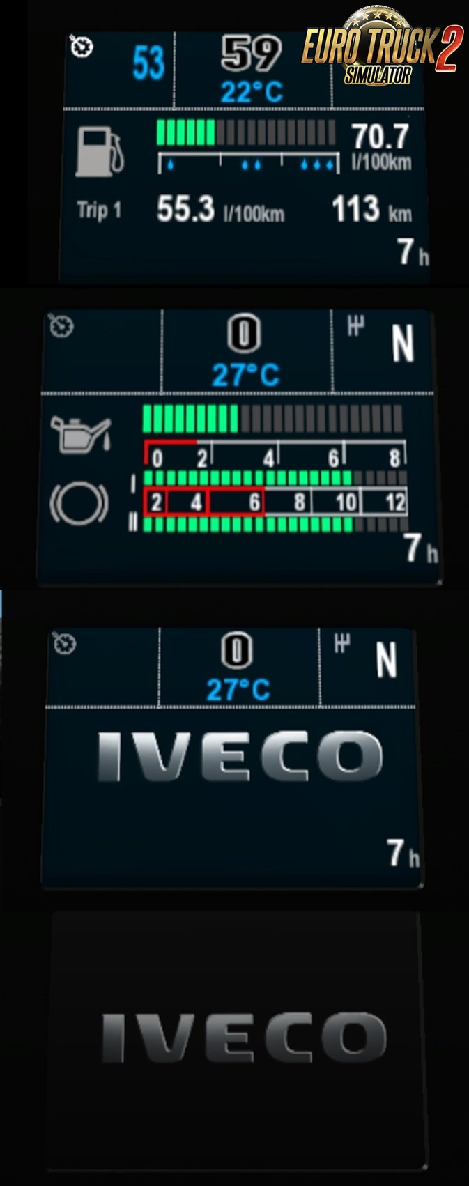 Iveco Stralis dashboard computer [XP Style added] by Piva