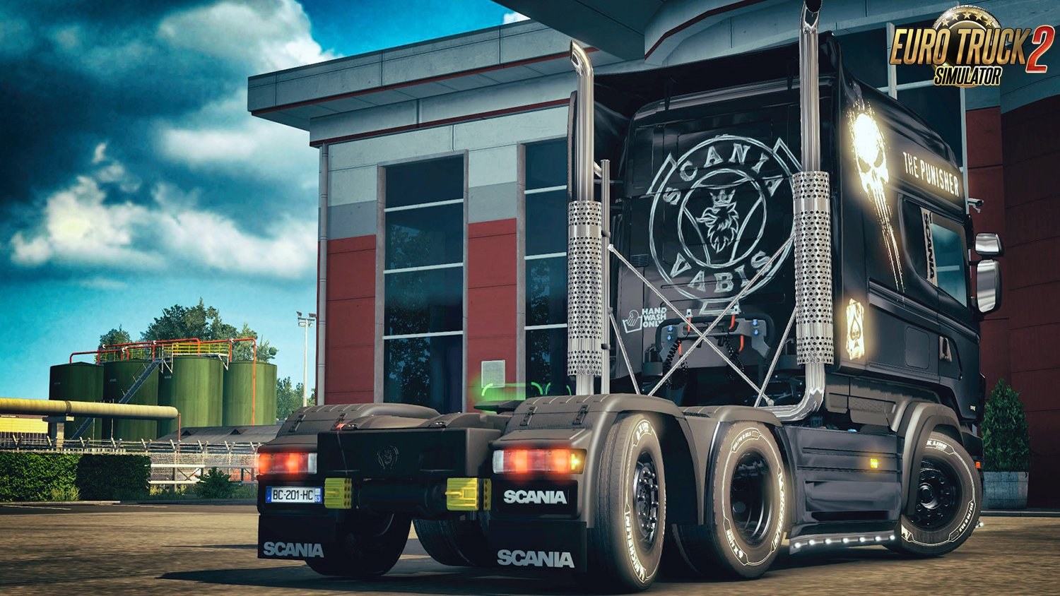 The Punisher Skin for Scania RJL Topline Extended v1.0 by DafDriver (1.28.x)