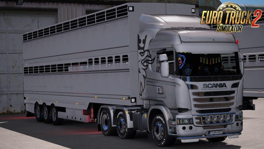 White Animal Trailer for Ets2