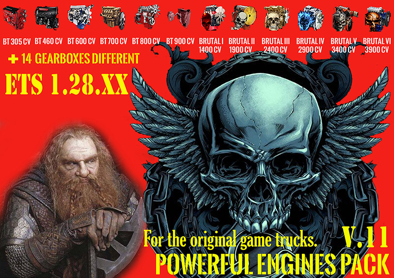 Pack Powerful engines + gearboxes v11 for 1.28.XX