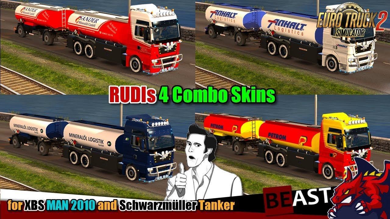 4 Combo Skins for MAN TGX 2010 by XBS + Schwarzmüller Tanker v1.0 (1.28.x)