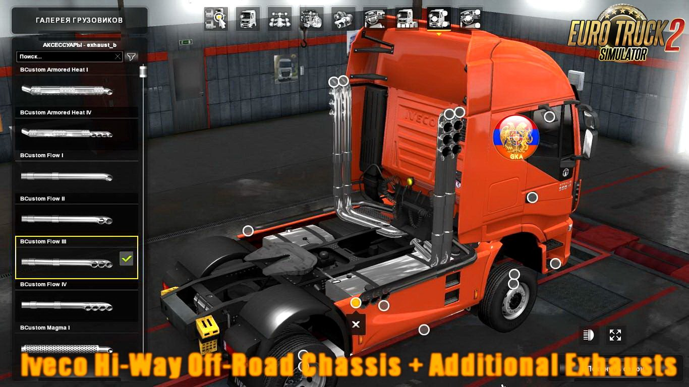Iveco Hi-Way Off-Road Chassis + Additional Exhausts v1.0 (1.28.x)