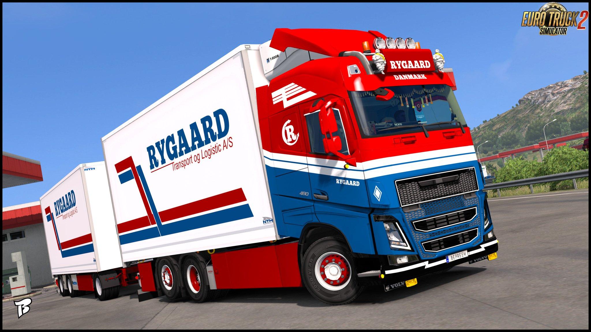 Volvo FH16 2012 Rygaard Transport Skin v2.0 by Bepreeh (1.30.x)