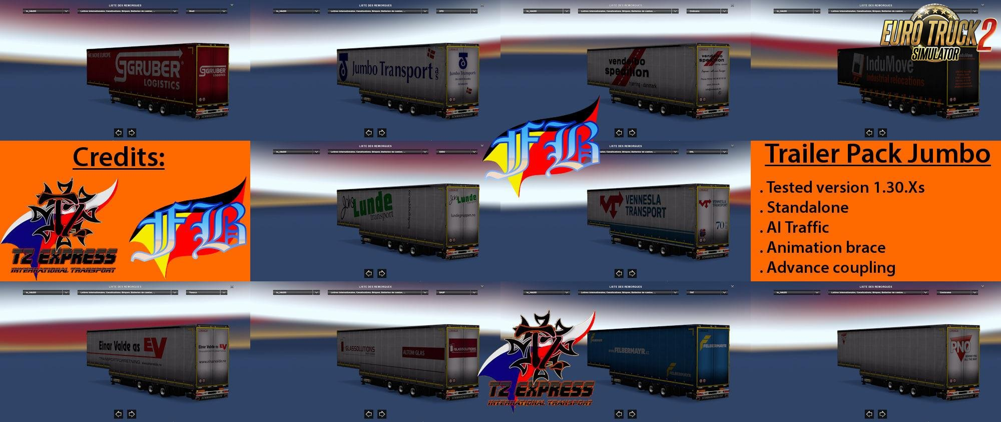 Trailer Pack Jumbo v1.30 for Ets2