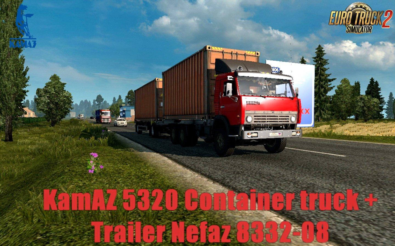 KamAZ 5320 Container Truck + Trailer Nefaz 8332-08 v1.0 (1.30.x)