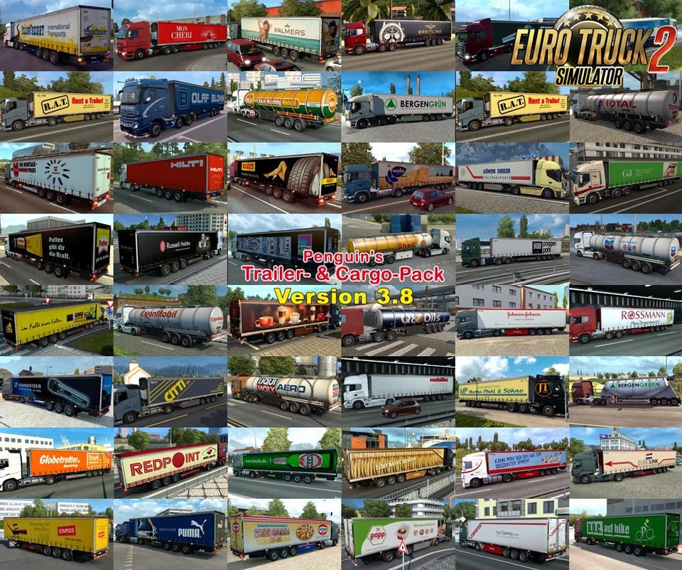 Penguins Trailer and CargoPack v3.8 for Ets2