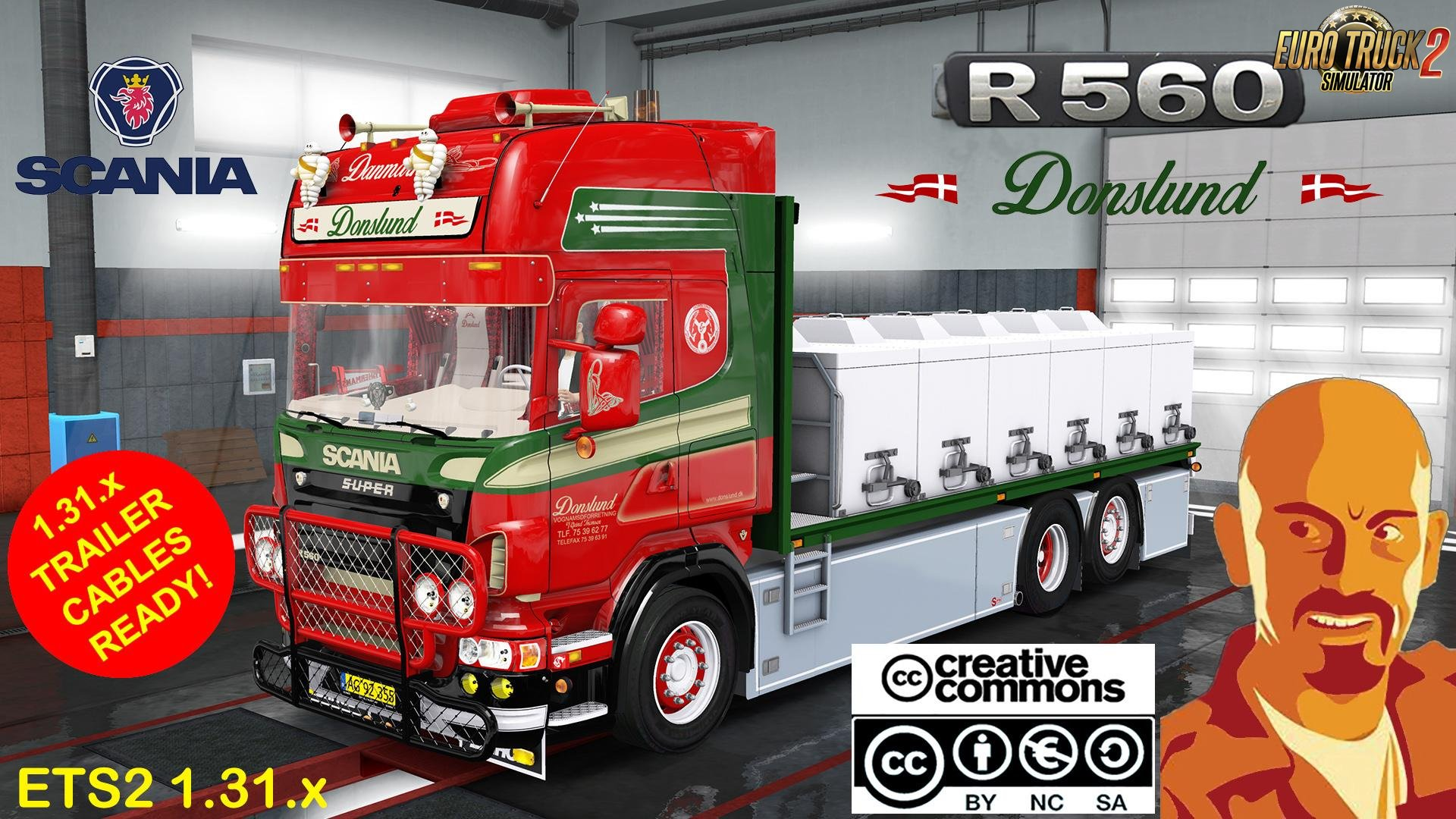 Fixed Lights for Scania R560 Donslund + Trailer (Recovered) for Ets2