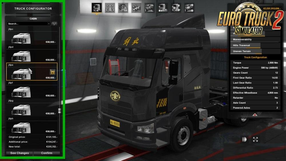 FAW J6P Truck for Ets2