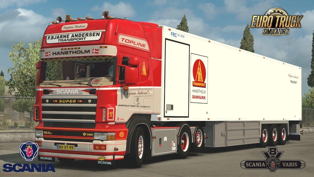Scania 164G 580 P.Bjarne Andersen Skin + Trailer v1.0 (1.32.x)