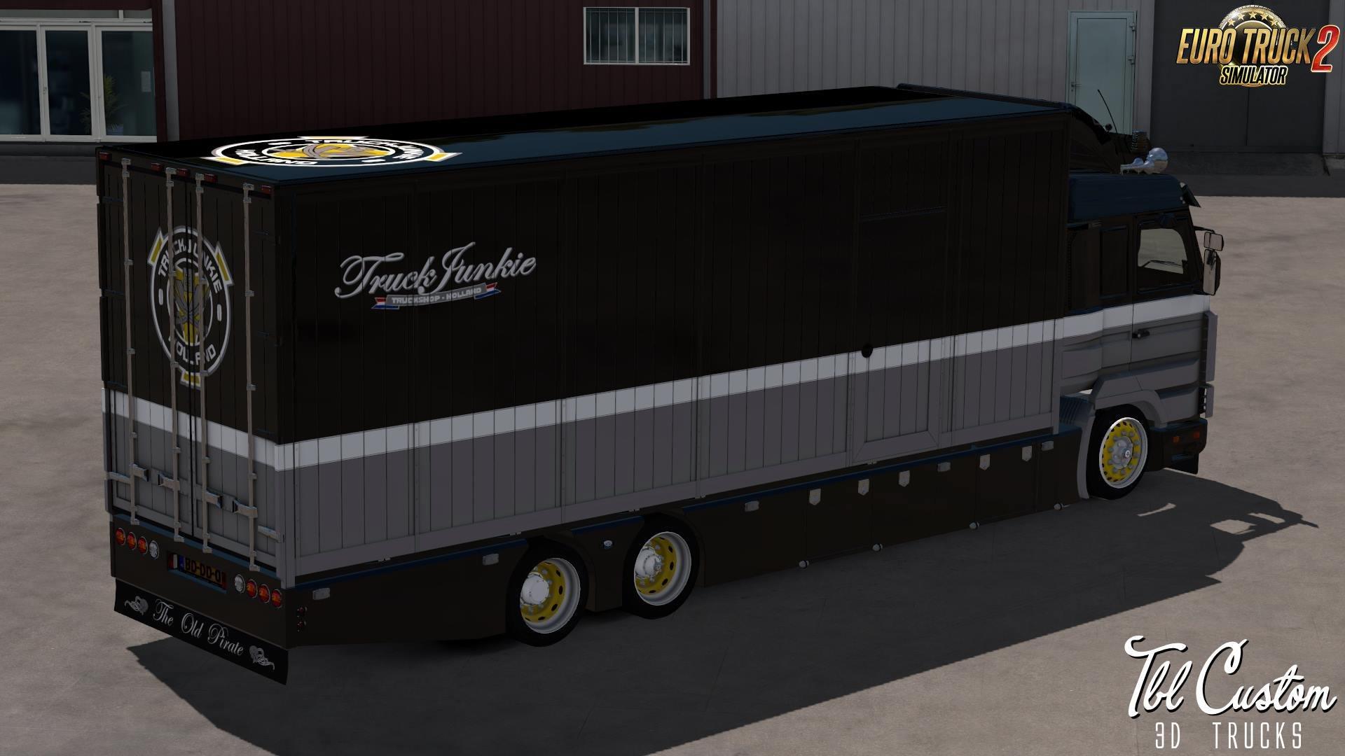 Scania 143M V8 500 Old Pirate + Interior + Tandem Trailer v1.0 (1.33.x)