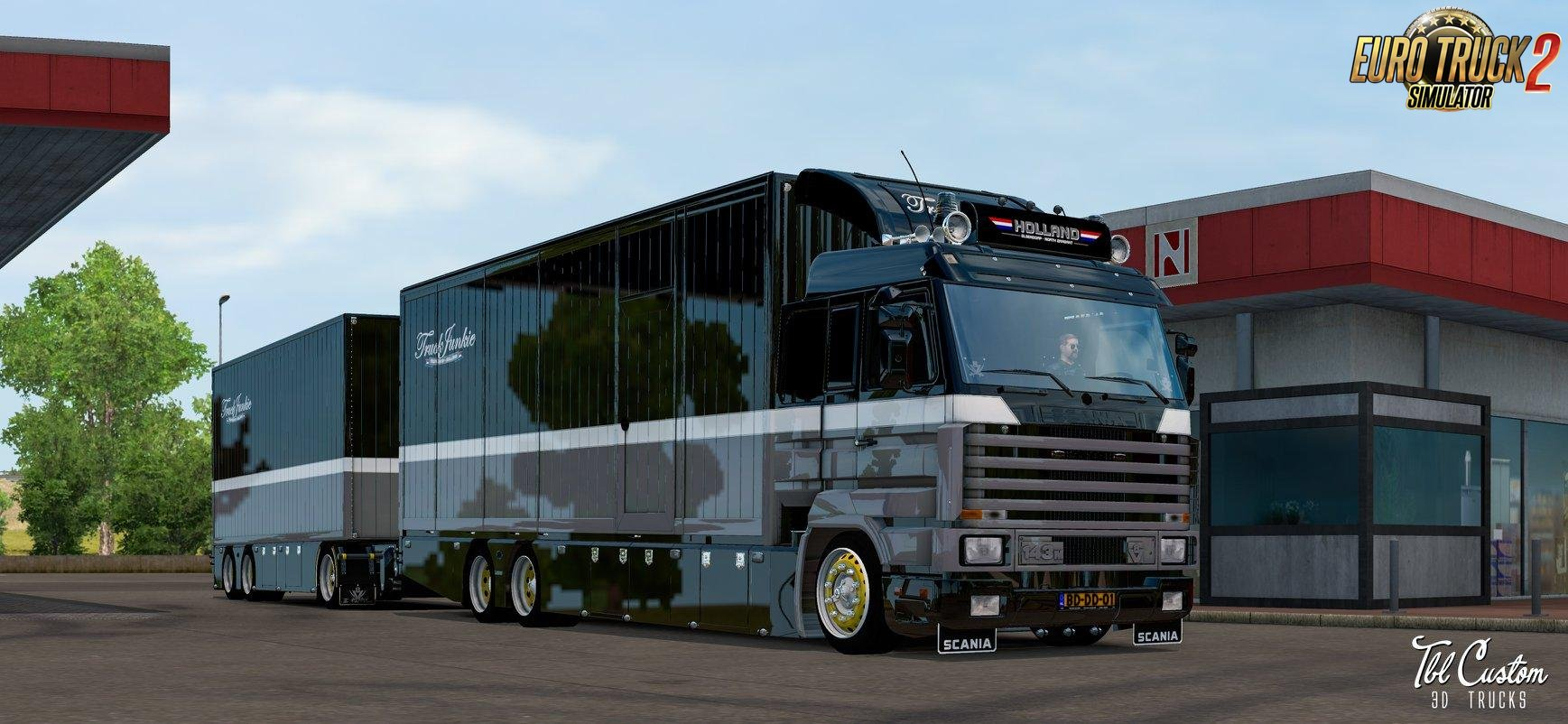 Scania 143M V8 500 Old Pirate + Interior + Tandem Trailer v1.0 (1.33.x)