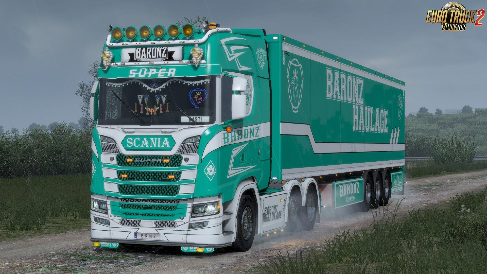 Baronz Haulage Skins Pack (Scania S + Scania RJL) v1.0 (1.33.x)