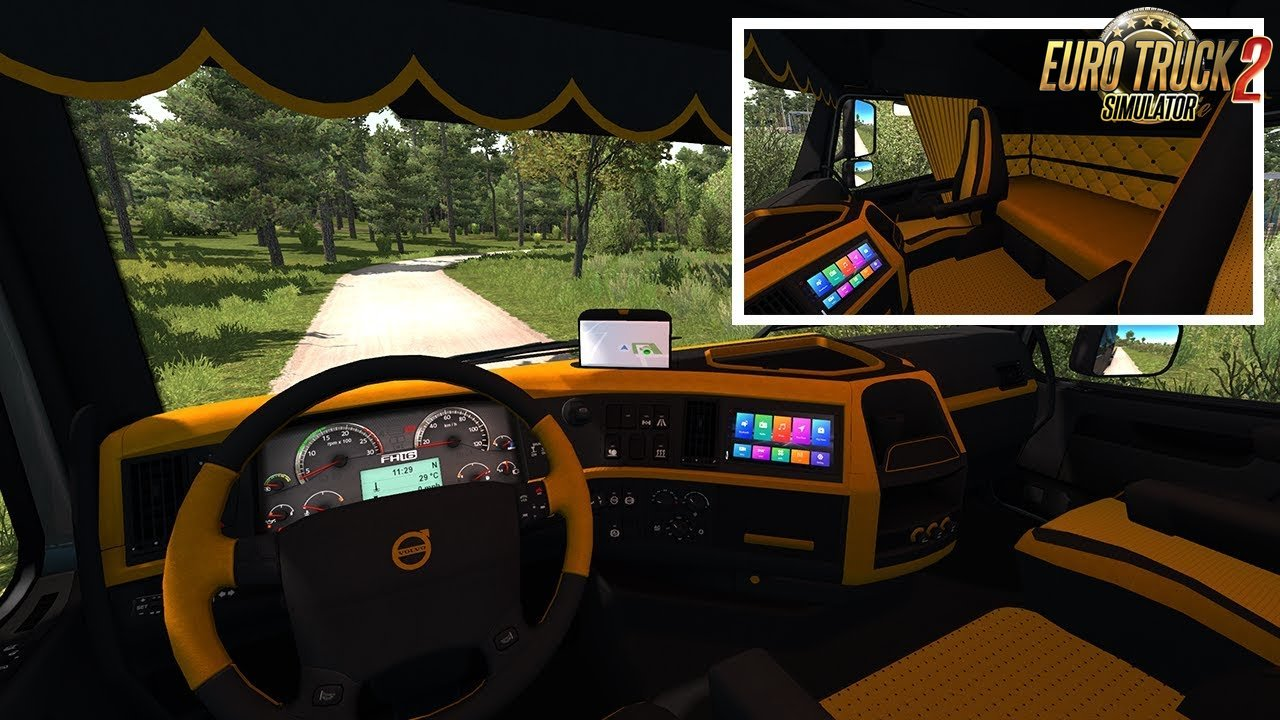 Volvo FH 2009 Black & Yellow Interior for Ets2