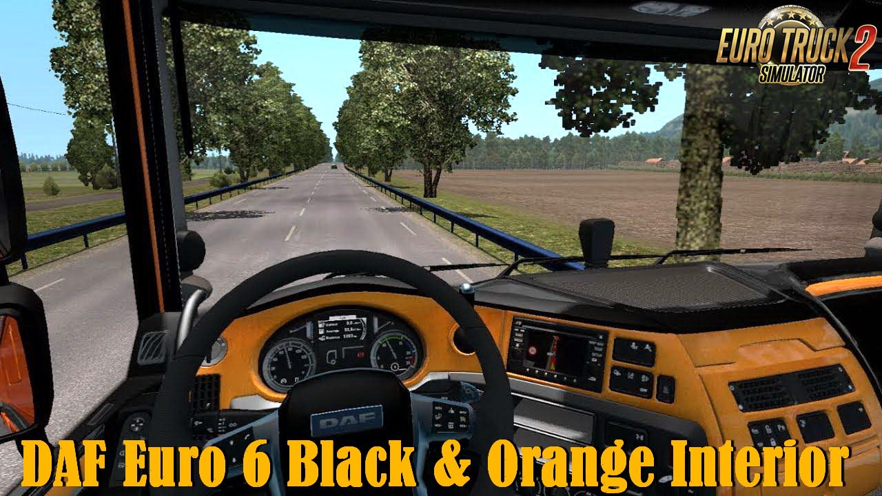 DAF Euro 6 Black & Orange Interior v1.0 (1.34.x)