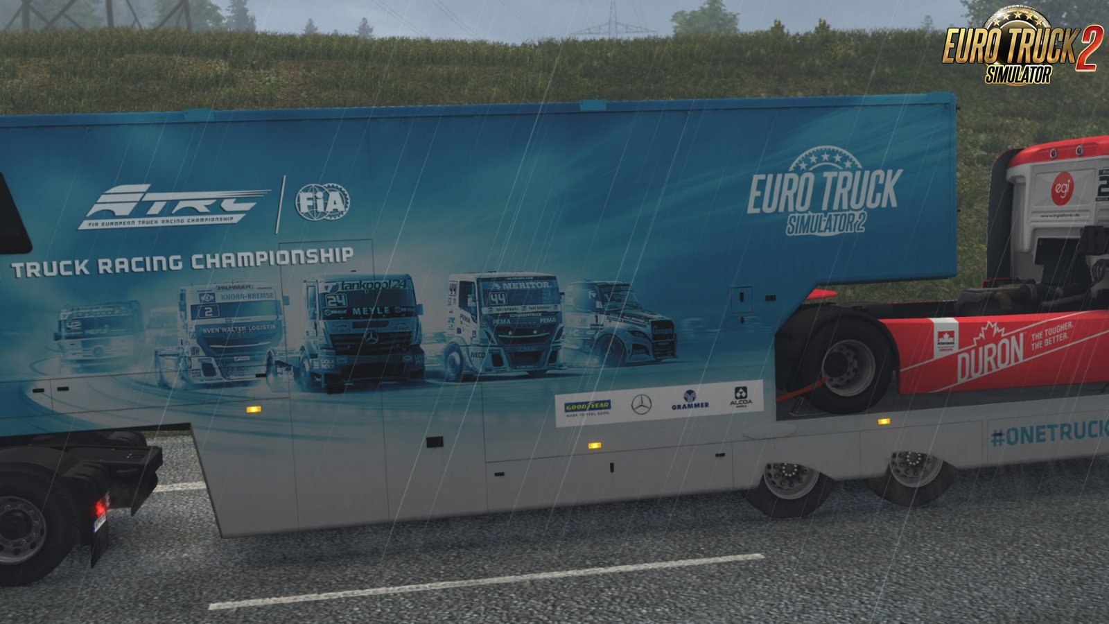 SCS ETRC truck racing trailers in AI traffic