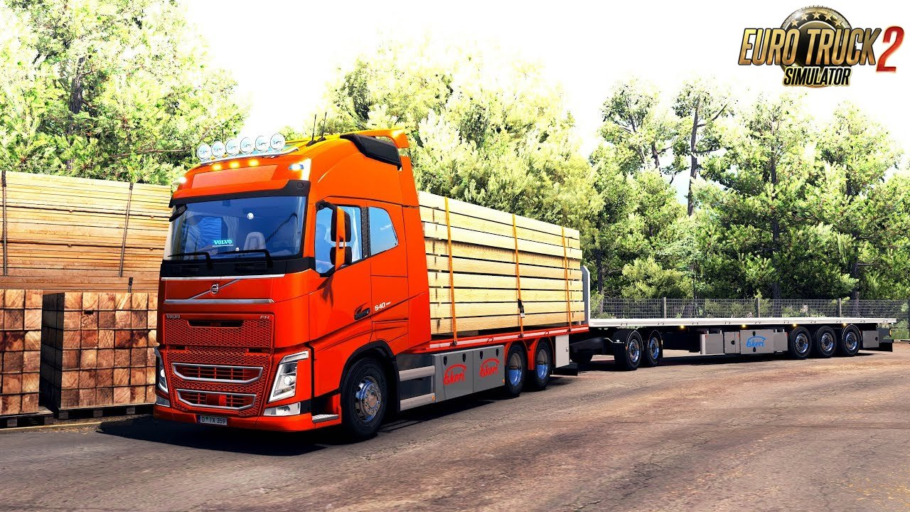 Lunnas Flatbed Addon For Tandem and Ekeri - Euro Truck Simulator 2