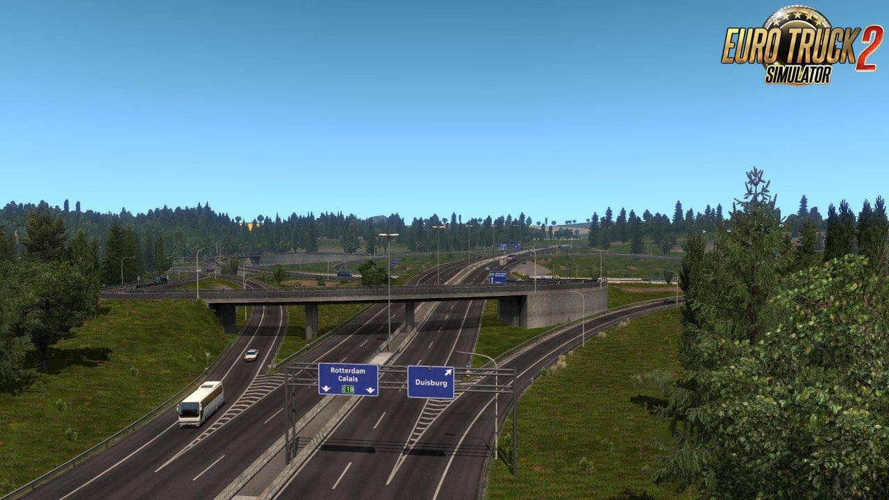 Rotterdam Brussel Highway with Calais Duisburg Road Interchange v2.3 [1.35.x]