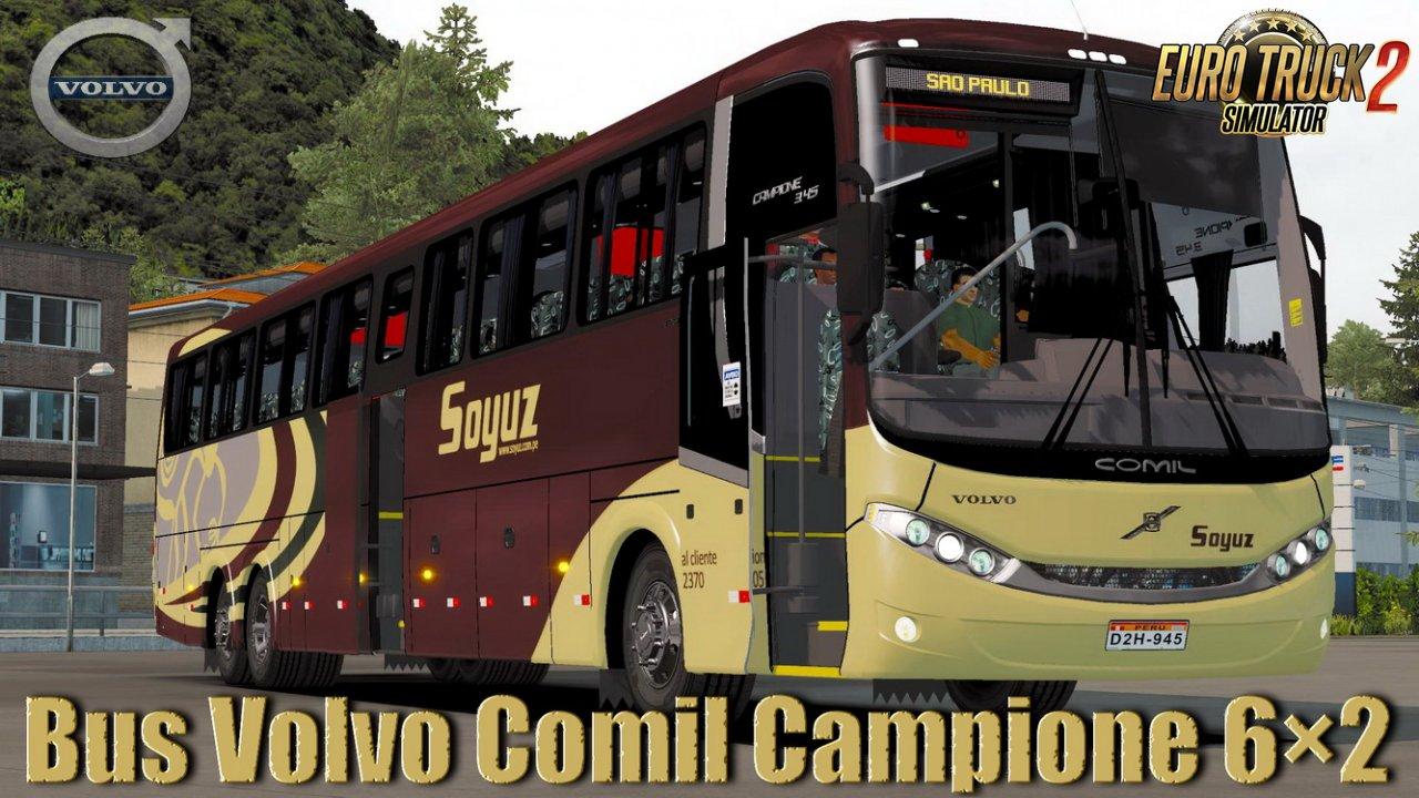 Bus Volvo Comil Campione 6×2 + Interior v1.0 (1.35.x)