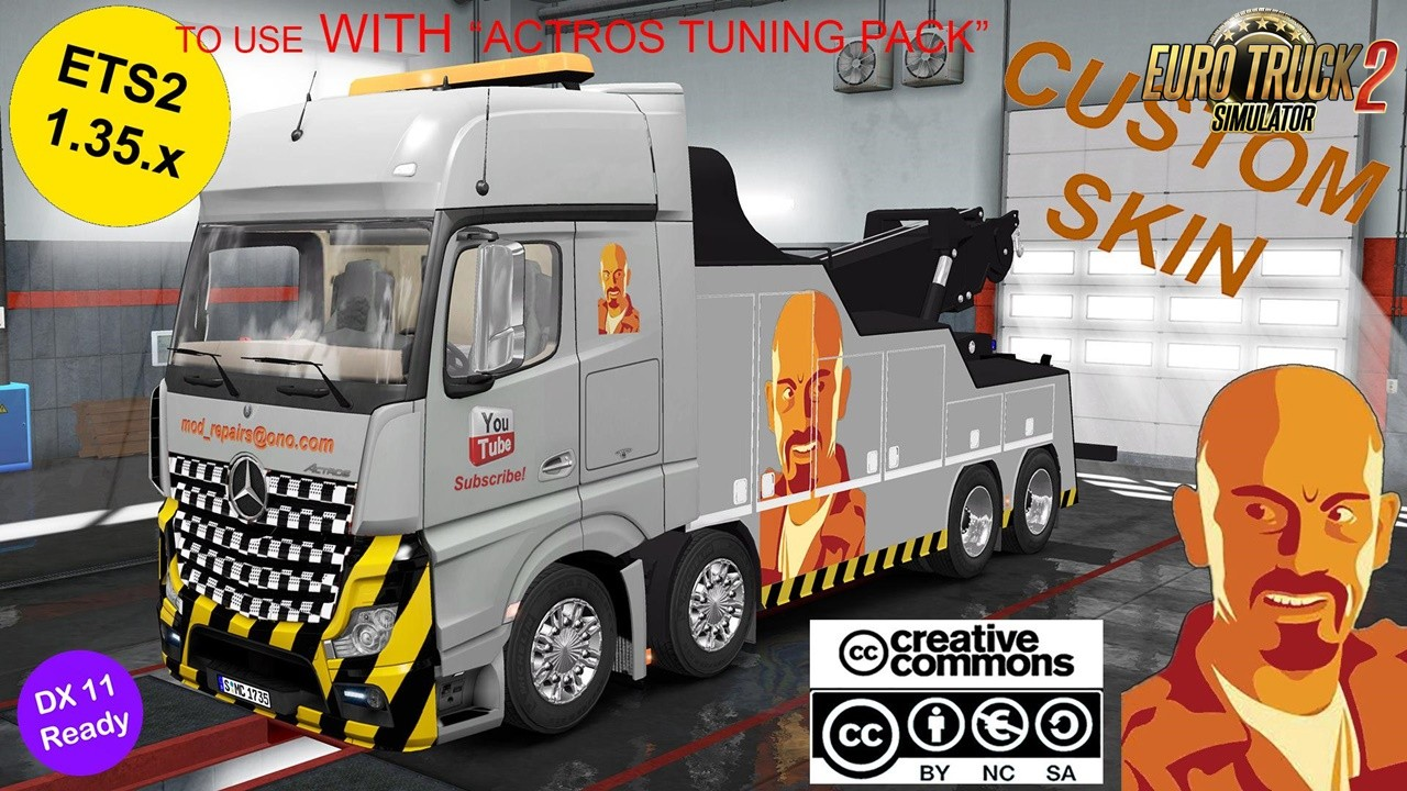 MB Actros MPIV Crane Truck Custom Skin (with Actros Tuning Pack compatibility)