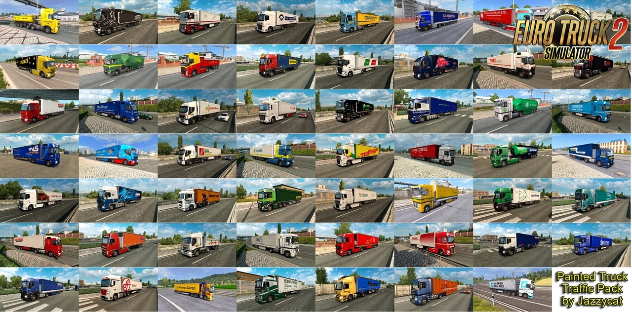 Painted Truck Traffic Pack v9.6 by Jazzycat (1.36.x) for ETS2