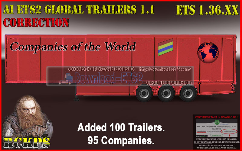 AI ETS2 Global Trailers Rckps 1.1 Fix For 1.36.XX