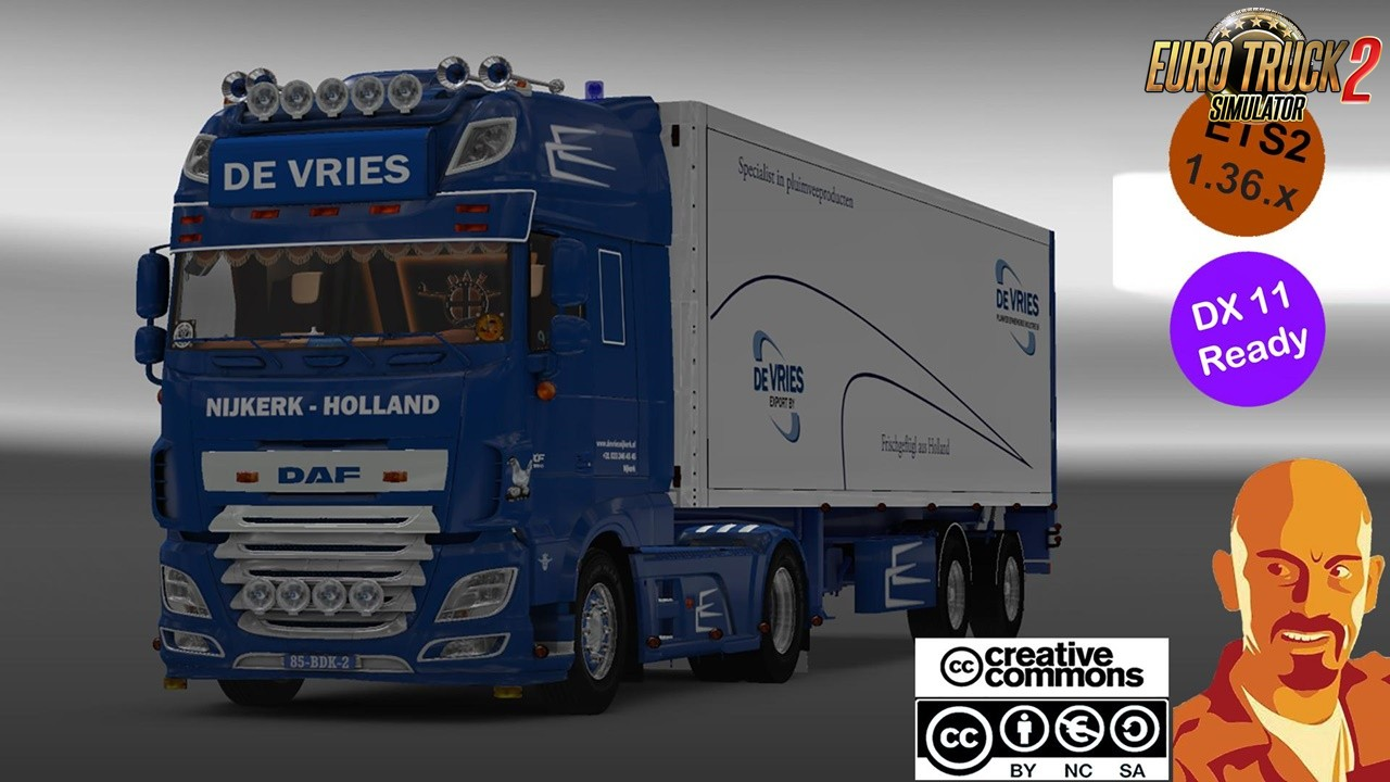 DAF XF 116 DeVries + Trailer for Ets2 (1.36.x DX11)