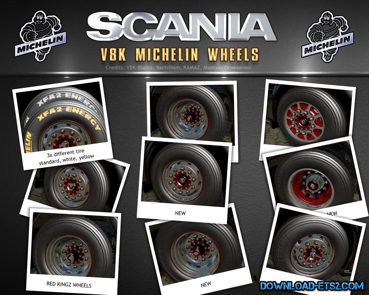 V8K Scania Michelin Wheels for ETS2