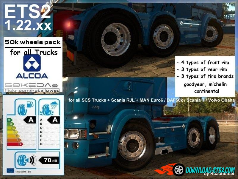 50k Alcoa Wheels Pack v3 for ETS2 1.22.xx